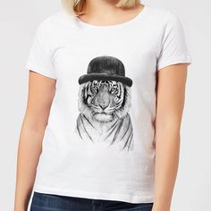 Buy Balazs Solti Tiger In A Hat Women's T-Shirt - White today at IWOOT. Tiger Shirt, Siberian Tiger, Freelance Illustrator, T Shirts For Women, Fashion Outfits, Female, Hats, Mens Tops, Cotton