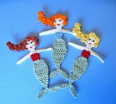 Ravelry: Mermaid Applique Crochet Pattern pattern by GoldenLucyCrafts (on Etsy) Marque-pages Au Crochet, Crochet Mermaid, Crochet Motifs, Crochet Flower Patterns, Freeform Crochet, Crochet Squares, Applique Patterns, Crochet Gifts, Cute Crochet
