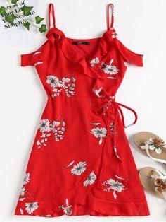 Summer No Floral Short Mini V-Collar Wrap Fit Beach Cute Cold Shoulder Ruffle Mini Wrap Dress Red Summer Dresses, Mini Dresses For Women, Sexy Dresses, Cute Dresses, Fashion Dresses, Cute Outfits, Wrap Dresses, Fashion Clothes, White Mini Dress