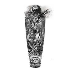 Fantasy World Sleeve Tattoo Art