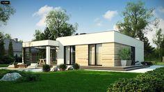 Projekt domu Zx138 D Wariant w technologii drewnianej. Modern Small House Design, House Front Design, Contemporary House Plans, Modern House Plans, Small House Plans, Modern Houses, Modern Bungalow, Facade House, Simple House