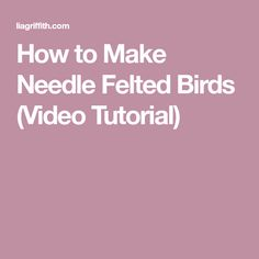 How to Make Needle Felted Birds (Video Tutorial)