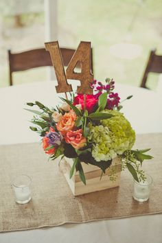 Table numbers and centerpiece in one! Different flowers tho... more white, tan, and brown.