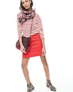 love this combo of red + leopard from #JCrew! striped boatneck T-shirt + mini skirt + plaid scarf + jewel-toned saddlebag + leopard ankle boots