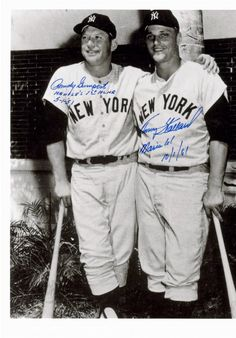 Mickey Mantle and Roger Maris, great friends and teammates.  This photo is autographed by the pitchers who gave up Mantle's first home run and Maris' 61st home run in 1961