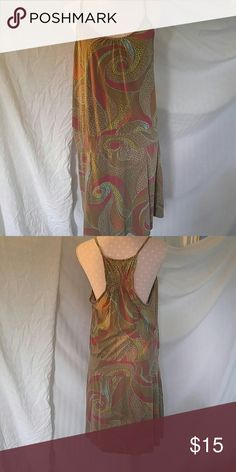 """Olive"" this dress! Really cute olive background, with burgundy, teal and chartreuse. Racer type back. Nice and cool for the heat of summer. Mossimo Supply Co Dresses Midi"