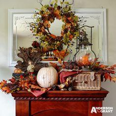 anderson + grant: Rustic Meets Elegant Fall Mantel Display