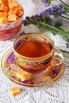 Saffron infused suger cubes with Persian tea---goregous Iranian cups & saucers