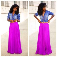 Fitted Denim Shirt + Pleated Maxi Skirt