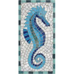 Seahorse mosaic kit designed by Martin Cheek exclusively for Mosaic Supplies Ltd. A complete mosaic kit with detailed instructions.