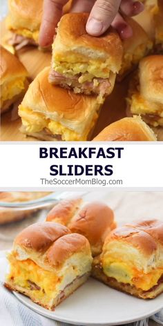 Easy Breakfast Sliders This crowd-pleasing breakfast slider recipe is so easy to make! Delicious ham, egg, and cheese sliders are the ultimate comfort food breakfast! Breakfast Slider, Breakfast And Brunch, Best Breakfast Recipes, Breakfast Dishes, Fun Easy Breakfast Ideas, Mini Breakfast Food, Quick Easy Lunch Ideas, Breakfast Tailgate Food, Breakfast Finger Foods