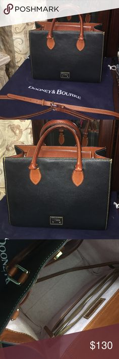 Dooney & Bourke navy Janine bag. Excellent condition D & B bag. This bag was used for about 2 weeks really good condition very clean. This bag comes with adjustable strap. It is pink on the inside. Has zippered inside pockets and 3 extra ones for more storage. Bag is very roomy comes with original dust bag. Dooney & Bourke Bags Satchels