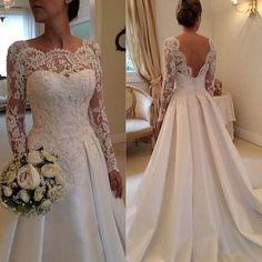 Wishesbridal Long Sleeve Scoop Neck Court Train #Satin A Line Featuring V Back Design #WeddingDress Awb0045
