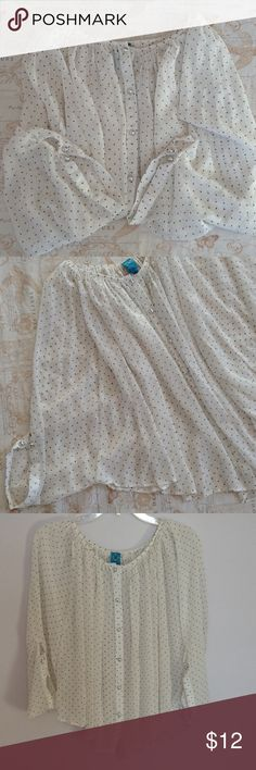 D collection Blouse Dreamy polka dot blouse with round silver buttons. Pleated through out. Wide sleeves that continues from the body. EUC. D collection Tops Blouses