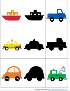 A simple shadow matching activity for the younger age group. Toddler Fine Motor Activities, Preschool Learning Activities, Preschool Worksheets, Preschool Activities, Kids Learning, Transportation Theme Preschool, Flashcards For Toddlers, Kindergarten Portfolio, Art Therapy Activities