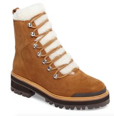 STYLECASTER | Marc Fisher Izzie Winter Boot | Marc Fisher boot | Marc Fisher winter boot | Marc Fisher Isalia boot | cute hiking boots | cute lace-up boots | cute winter boots Cute Winter Boots, Winter Shoes, Brooklyn Blonde, Shearling Boots, Liner Socks, Lace Up Boots, Fisher, Hiking Boots, Combat Boots