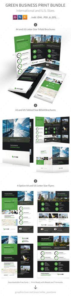 Green Business Print Brochure Template Bundle - PSD, Vector EPS, InDesign INDD, AI Illustrator