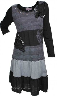 1526c89cf53 Aubrey vintage dress in black  amp  gray at Styles2you.com Red Sweater Dress
