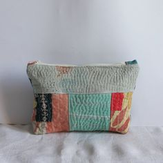 Pouch blues peach kantha patchwork by roxycreations on Etsy