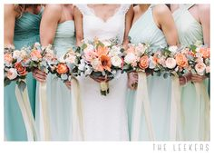 Lincoln, NE Wedding  Flowers by Petals to Platinum Peach Flowers / Mint Dresses