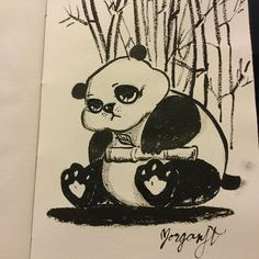 Pandy Panda sketch with just black ink brush pen #morganjtart #morganjt #art #illustration #drawing #draw #picture #artist #sketch #sketchbook #paper #pen #pencil #artsy #instaart #beautiful #instagood #gallery #masterpiece #creative #photooftheday #instaartist #artoftheday http://ift.tt/2cqwM7I