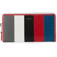 Balenciaga Bazar Zip-Around Continental Wallet (€520) ❤ liked on Polyvore featuring bags, wallets, continental wallet, stripe bag, balenciaga wallet, 12 card wallet and balenciaga