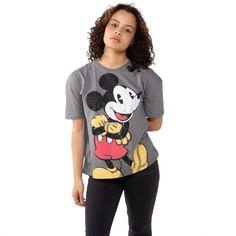 Disney Ladies - Mickey Happy - Oversized T-shirt - Charcoal - Large