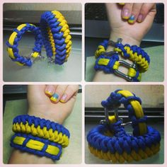 #Ukraine #flag #colours bacame pretty popular last several months. New #paracord #bracelets for nice couple of patriots)) #matedSnake #cobra #thinLine #yellow #blue #paracord550 #handmade with a shakle