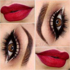 Maquillaje labios rojos sombras nude.