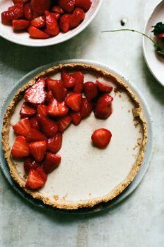 vegan strawberry vanilla custard tart | apt 2b baking co, food photography, food styling, tart photography