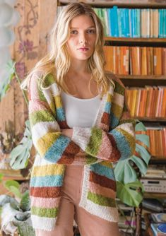 Knit striped cardigan in alpaca - free pattern # free pattern Knit striped cardigan . - Lilly is Love Knitting Patterns Free, Knit Patterns, Free Pattern, Diy Knitting Cardigan, Pullover Design, Knitwear Fashion, Striped Cardigan, Drops Design, Alpaca Wool