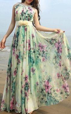 Summer Floral Long Beach Maxi Dress