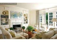 Bathed in Blue | Atlanta Homes & Lifestyles living room layout - perfect loving room.  Once my children are grown.