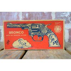 Vintage 1950s Kilgore Bronco Cap Gun With Box 209 #ecorelics