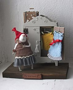 Felt mouse and an old wardrobe.