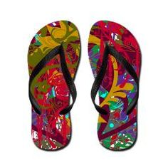 Frazzle 2 Flip Flops. Awesome design for the Summer. Feel cool and look cool in these custom thong flip flops.