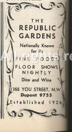 A 1940 S Ad For The Republic Gardens Opened First In 1926 Then Again