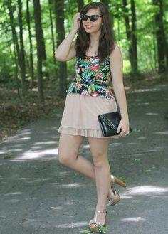 Tropical peplum top, girly pink skirt