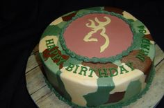 Camo cake - For my SIL--chocolate 8 in. with SS BC, the deer emblem, plaque, and letters are 50/50.  Just squiggled the different colors, let crust, and viola!!  Thanks to all the others that shared their techniques and ideas.