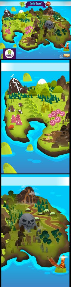 Game graphics and UI design for MonsterUp Adventures Windows Phone game. Game Environment, Environment Design, Bee Games, 2d Game Art, Game Background, Game Concept Art, Hand Painting Art, Map Design, Environmental Art