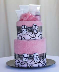 """The """"Pink Couture"""" Towel Cake. Perfect for Mother's Day, Birthday or  Bridal Shower Gift or Centerpiece. on Etsy, $85.00"""