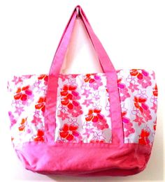 225186d50 Butterfly Flower Canvas Tote Bag Pink Orange White Large Print Beach Summer