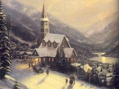 Thomas Kinkade Moonlit Village print for sale. Shop for Thomas Kinkade Moonlit Village painting and frame at discount price, ships in 24 hours. Thomas Kinkade Art, Thomas Kinkade Christmas, Kinkade Paintings, Oil Paintings, Painting Art, Thomas Kincaid, Art Thomas, Art Store, Christmas Art