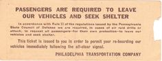 The back of the air raid ticket.  PTC is now SEPTA (Southeastern Pennsylvania Transportation Authority).