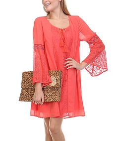 Look what I found on #zulily! Coral Lace Accent Peasant Dress by LeShop #zulilyfinds
