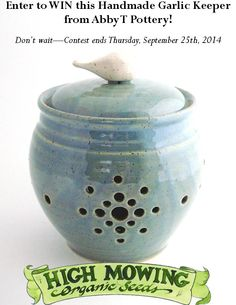 Enter to WIN this handmade garlic keeper, made by local potter Abby Tonks of Abby T Pottery in Randolph, VT. We love how the little bird on top also looks like a clove of garlic! Hurry - contest closes Thursday, September 25th.