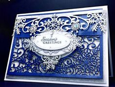 Cards by America, America, www.cardsbyamerica.blogspot.com/, Royal Blue, Season's Greetings, Christmas, Snow, Snowflakes, Festive Collection, Craft Dies, Cutting dies, Die Cut, Winter, Holidays, Sue Wilson, Creative Expressions