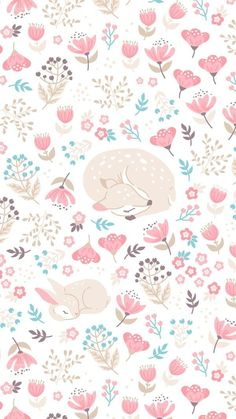 Colorful fabrics digitally printed by Spoonflower - Sleep Well My Deer - light beige - small Add a pop of pattern with unique fabric, wallpaper & gift wrap. Deer Wallpaper, Rabbit Wallpaper, Pastel Wallpaper, Cute Wallpaper Backgrounds, Wallpaper Iphone Cute, Flower Wallpaper, Cute Wallpapers, Pattern Wallpaper Iphone, Trendy Wallpaper