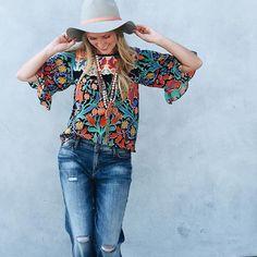 Folkart Kimono Top #Anthropologie #MyAnthroPhoto