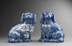 Stephen Bowers - Adelaide Jam Factory, Pair of blue and white china dogs Blue Willow China, Blue And White China, Blue China, Love Blue, Delft, Staffordshire Dog, Willow Pattern, Chinoiserie Chic, White Porcelain